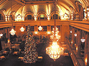 Palace Hotel Christmas Lights on San Francisco walking tour